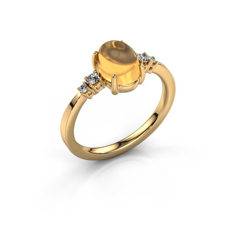 Ring Jelke 585 goud citrien 8x6 mm