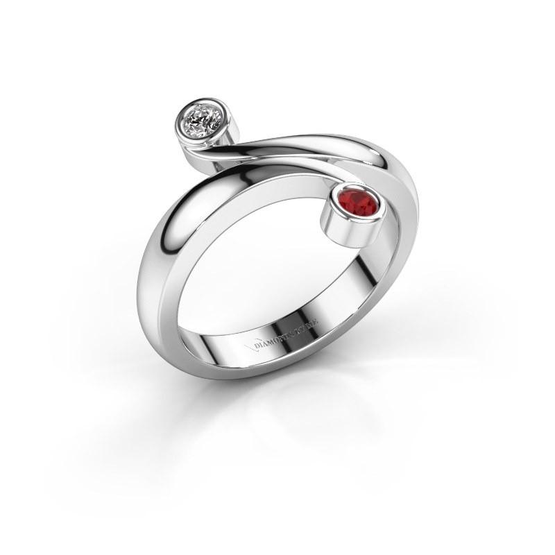 Ring Hilary 585 witgoud robijn 2.5 mm
