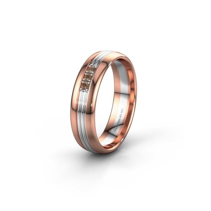 Trouwring WH0405L35X 585 rosé goud bruine diamant ±5x1.5 mm