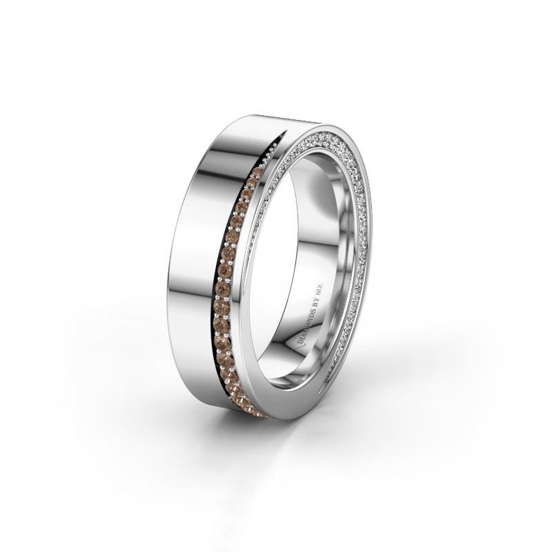 Wedding ring WH1002L15DP 925 silver brown diamond ±6x2.3 mm
