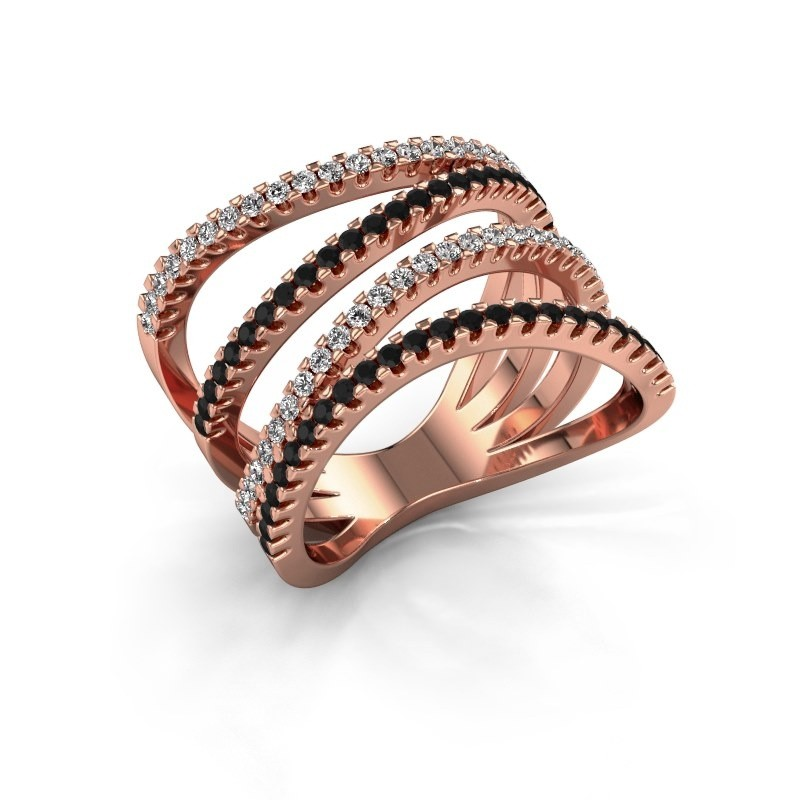 Ring Mitzi 375 Roségold Schwarz Diamant 0.809 crt
