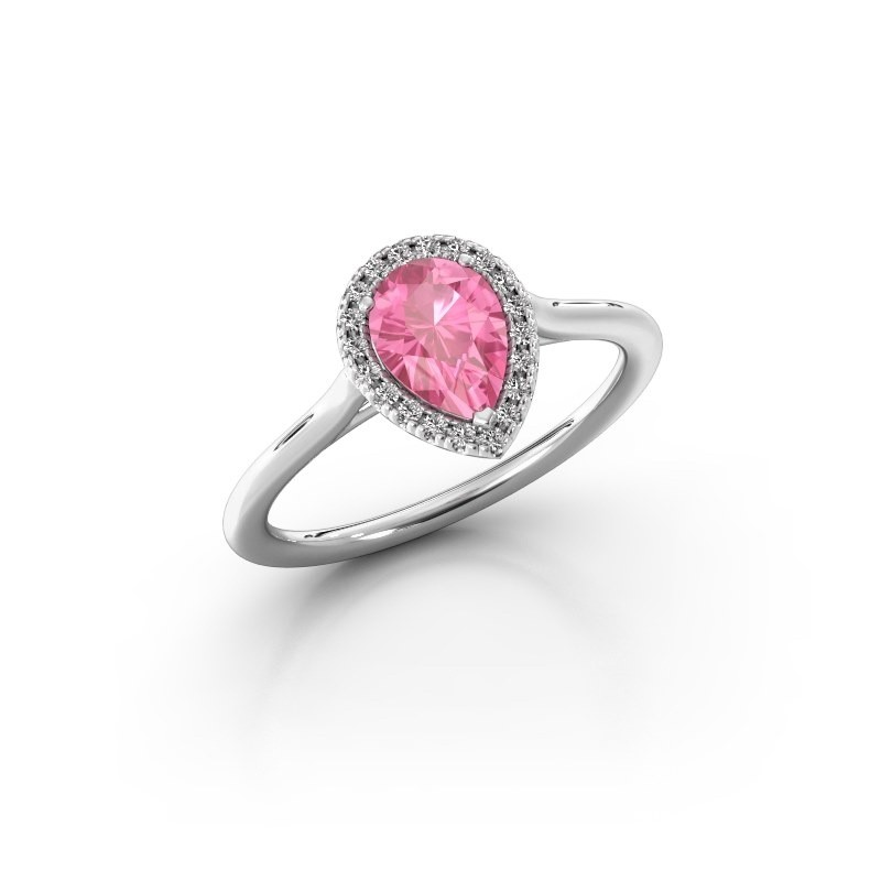 Engagement ring Monique 1 585 white gold pink sapphire 7x5 mm