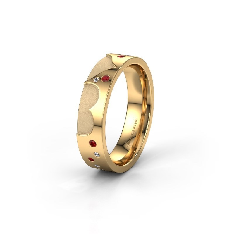 Trouwring WH2114L25A 585 goud robijn ±5x1.7 mm