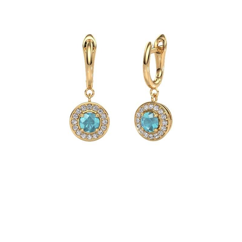 Oorhangers Ninette 1 585 goud blauw topaas 5 mm