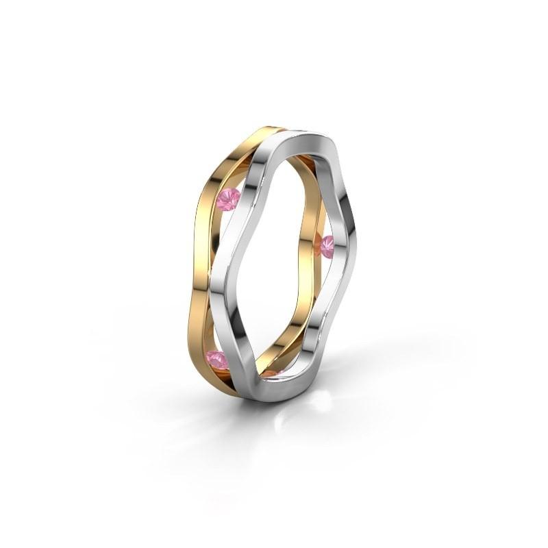 Trouwring WH2122L 585 goud roze saffier ±5x1.8 mm
