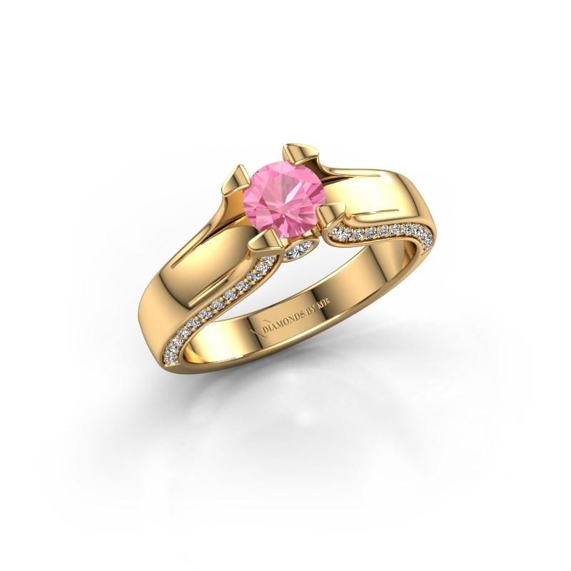 Verlovingsring Jeanne 1 375 goud roze saffier 5 mm