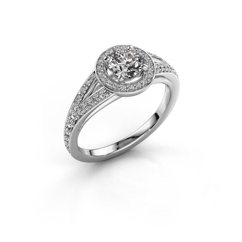 Bague de fiançailles Angelita RND 585 or blanc diamant 0.832 crt