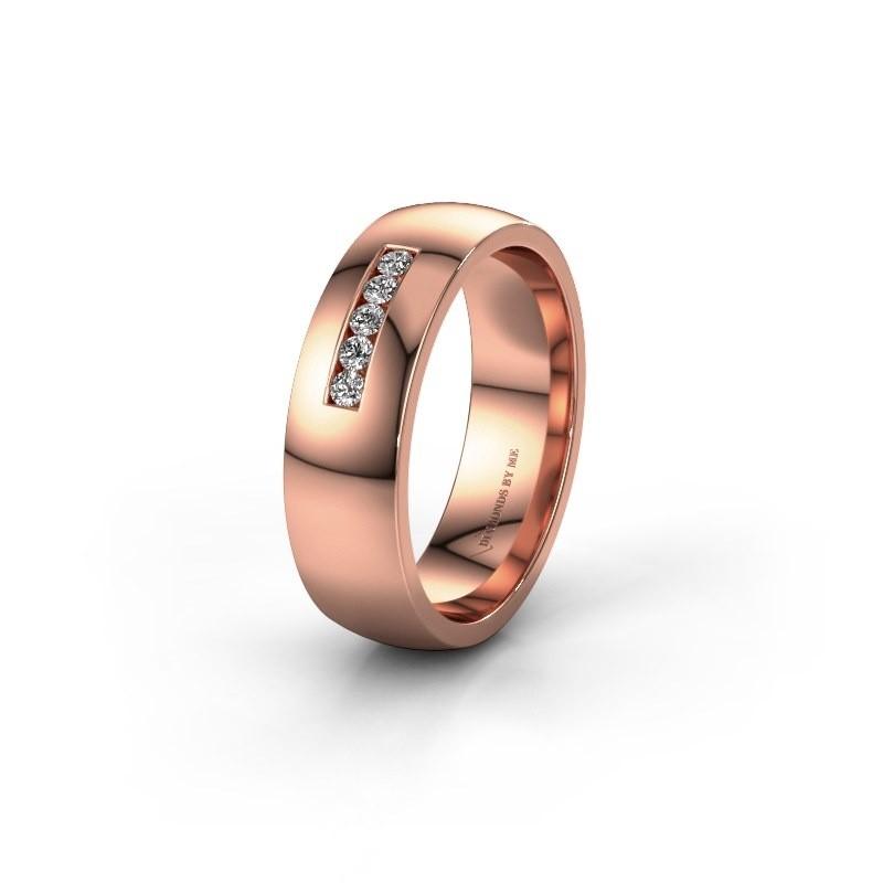 Wedding ring WH0107L26BP 375 rose gold lab-grown diamond ±6x2 mm