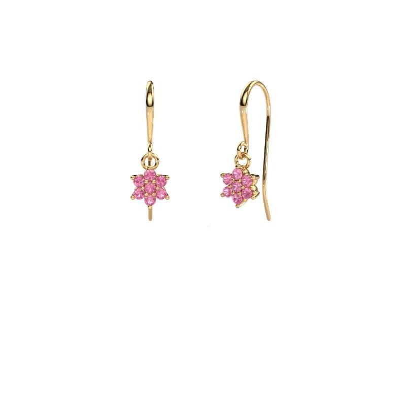 Drop earrings Dahlia 1 375 gold pink sapphire 1.7 mm
