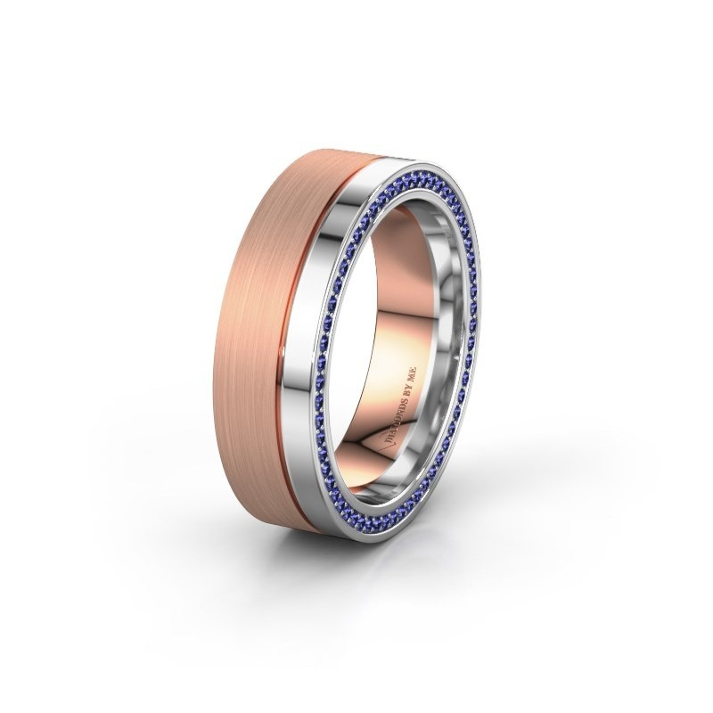 Wedding ring WH0313L16B 585 rose gold sapphire ±0.24x0.08 in