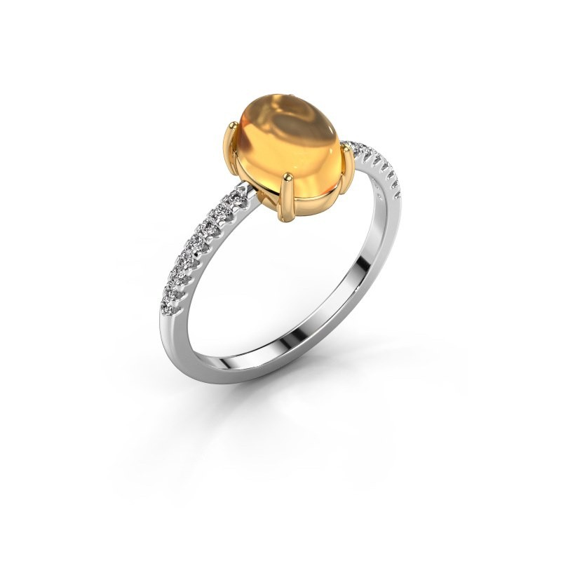 Bague Becky 585 or blanc citrine 8x6 mm