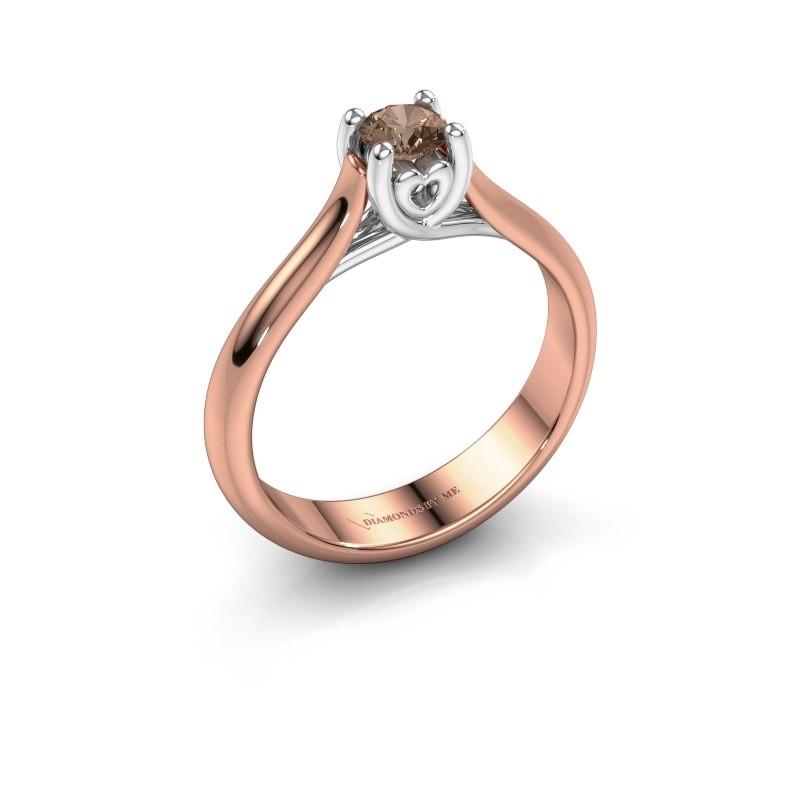 Verlovingsring Nisa 585 rosé goud bruine diamant 0.30 crt