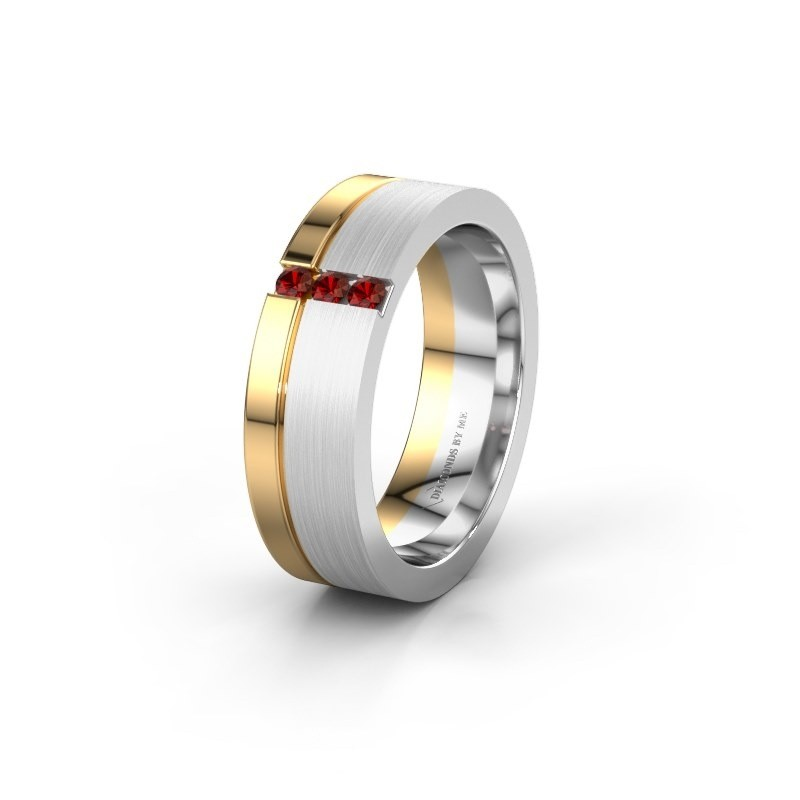 Wedding ring WH0327L16B 585 white gold garnet ±0.24x0.08 in