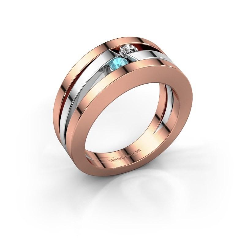 Ring Valerie 585 rosé goud blauw topaas 2.7 mm