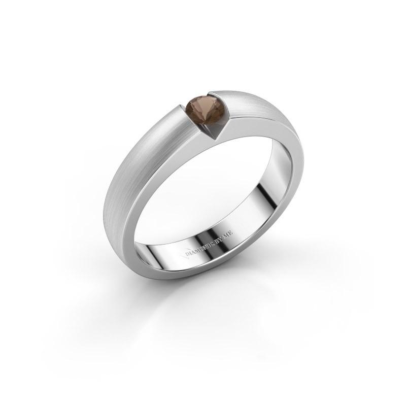 Verlovingsring Theresia 925 zilver rookkwarts 3.4 mm