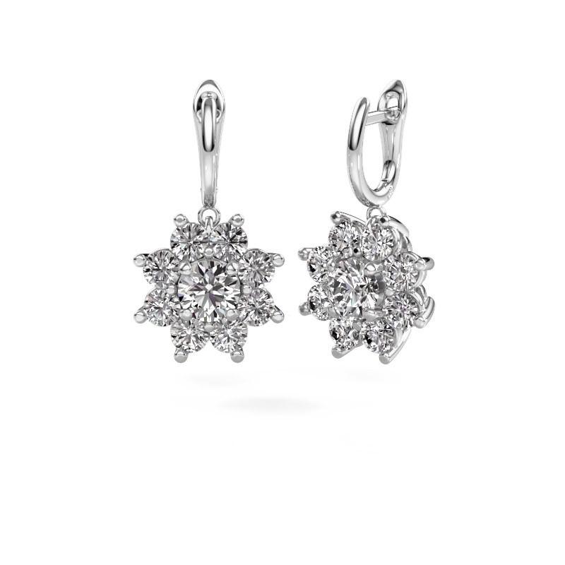 Drop earrings Camille 1 585 white gold diamond 6.00 crt
