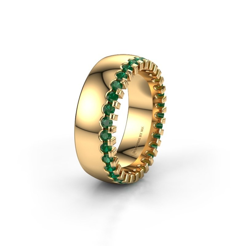 Wedding ring WH6120L27C 375 gold emerald ±0.28x0.09in