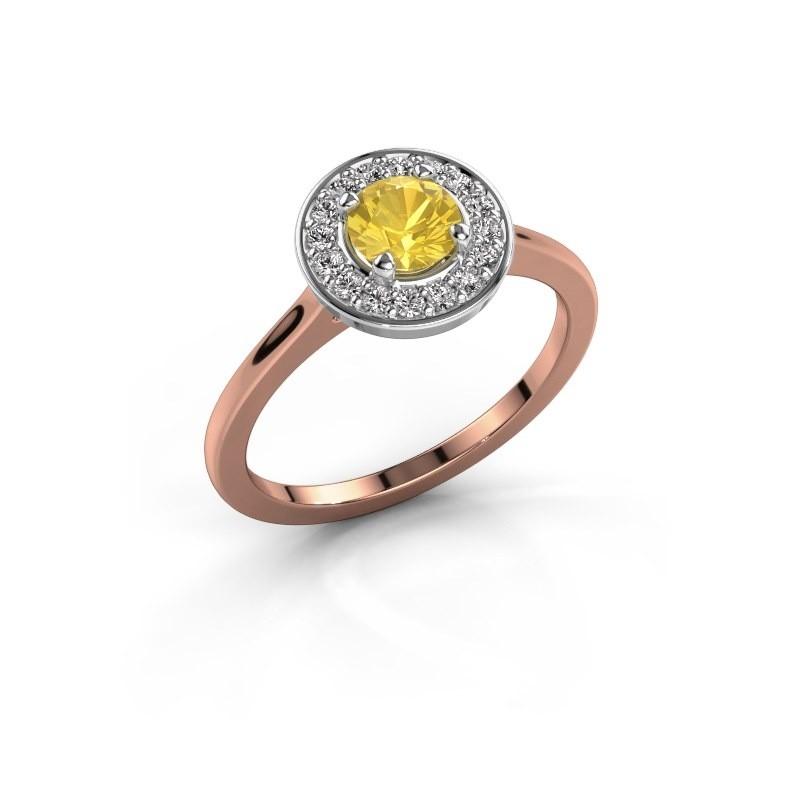 Ring Agaat 1 585 rosé goud gele saffier 5 mm