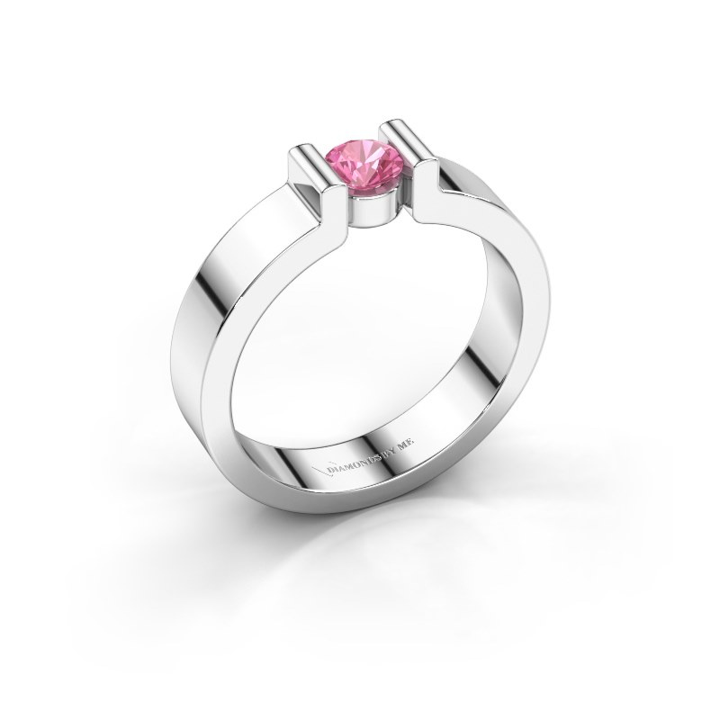 Verlovingsring Isabel 1 585 witgoud roze saffier 4 mm