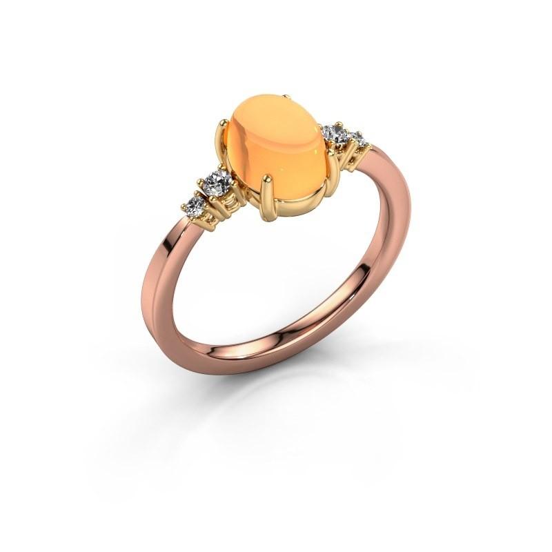 Ring Jelke 585 rosé goud citrien 8x6 mm