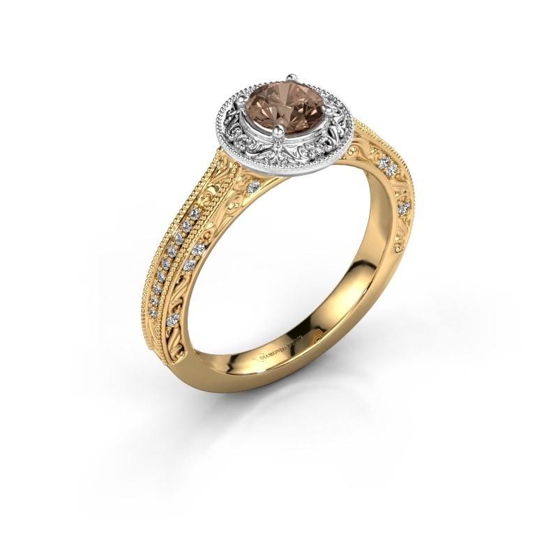 Verlovings ring Alice RND 585 goud bruine diamant 0.60 crt