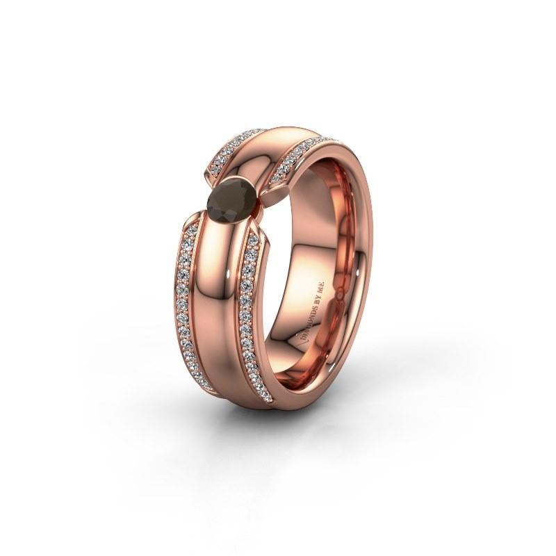 Wedding ring WHR0575L 375 rose gold smokey quartz ±0.28x0.08 in