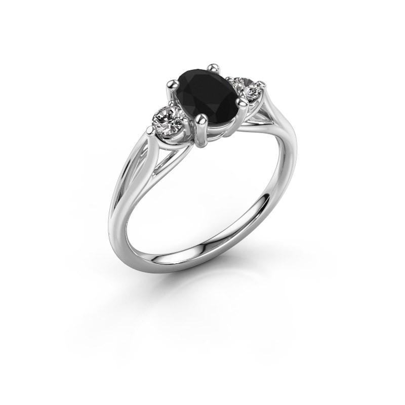 Engagement ring Amie OVL 585 white gold black diamond 1.25 crt