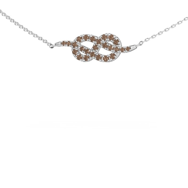 Collier barre Infinity 1 585 or blanc diamant brun 0.328 crt