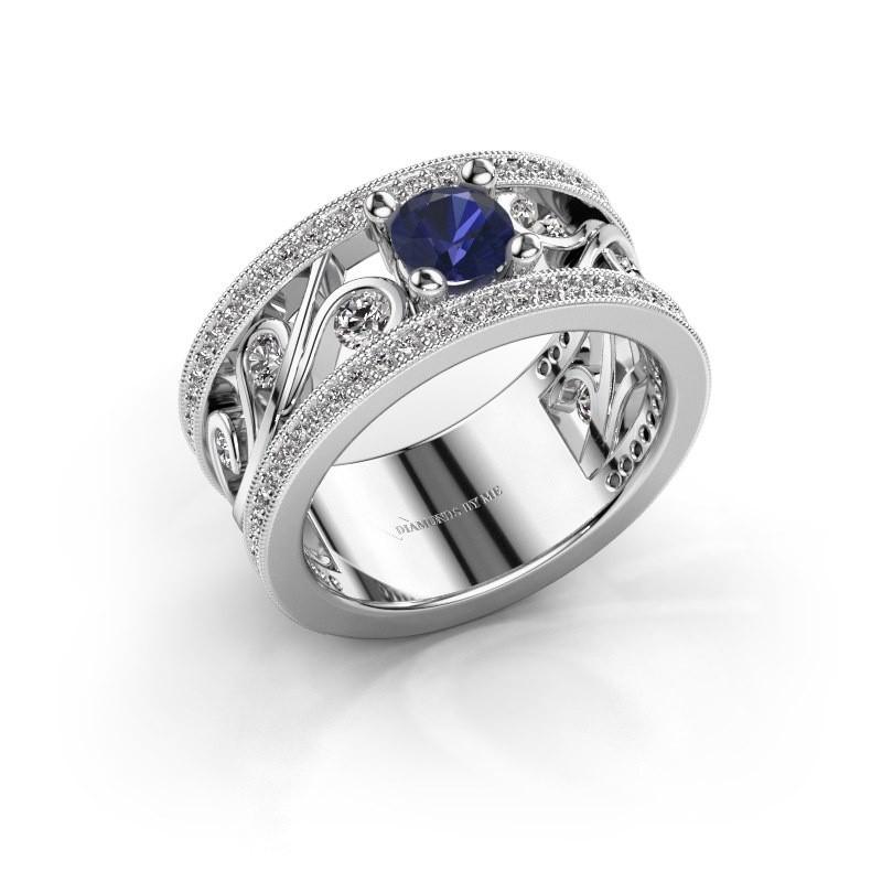 Ring Sanne 925 zilver saffier 5 mm