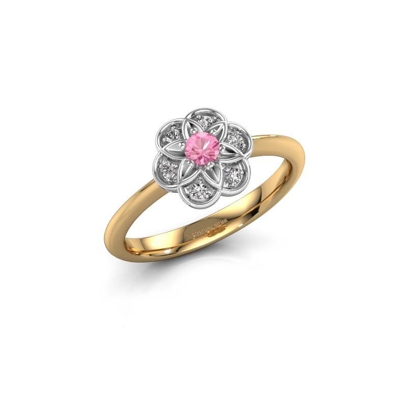 Verlovingsring Uma 585 goud roze saffier 3 mm