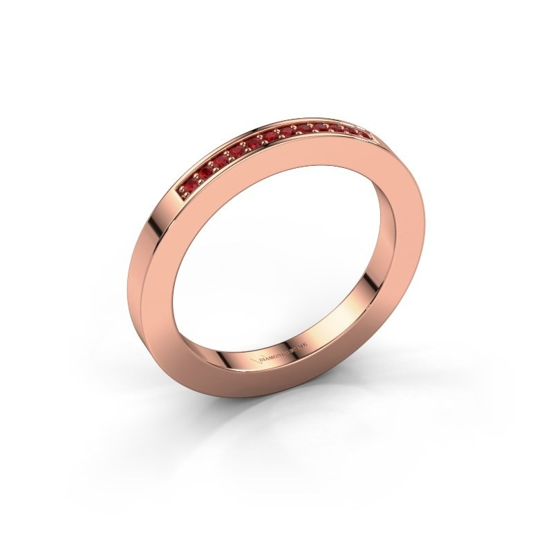 Stackable ring Loes 1 375 rose gold ruby 1.1 mm