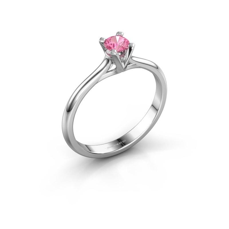 Verlovingsring Isa 1 585 witgoud roze saffier 4 mm