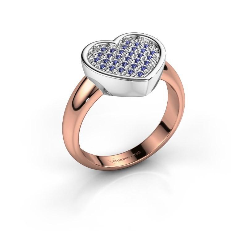 Ring Veerle 585 rosé goud saffier 1 mm
