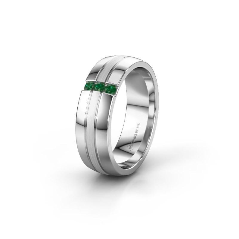 Trouwring WH0426L26A 925 zilver smaragd ±6x1.7 mm