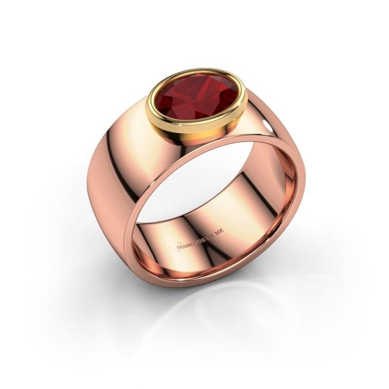 Ring Wilma 1 585 rosé goud robijn 8x6 mm