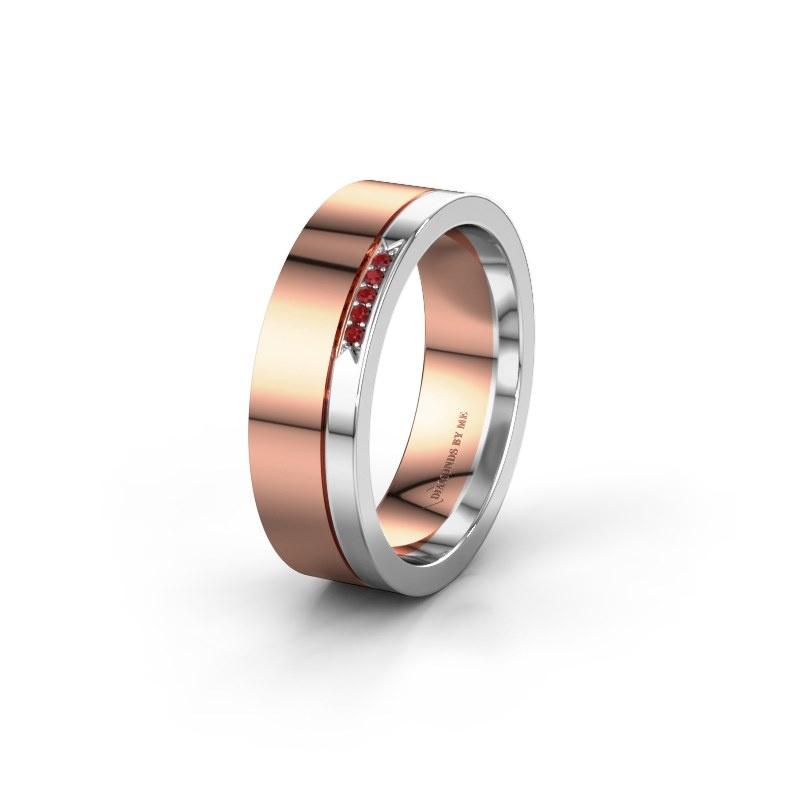 Huwelijksring WH0336L16A 585 rosé goud robijn ±6x1.7 mm