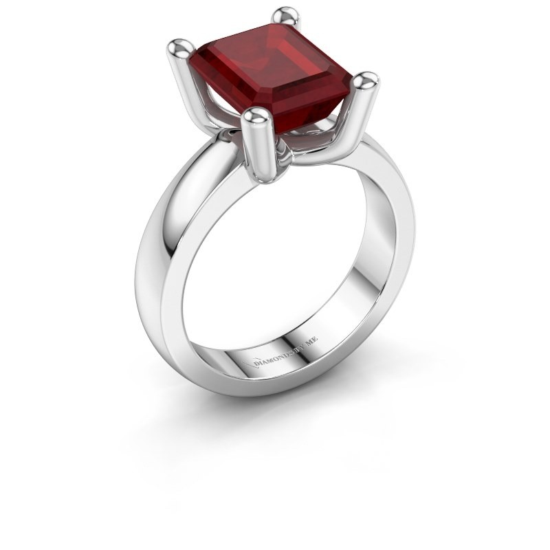 Ring Clelia EME 950 platina robijn 10x8 mm