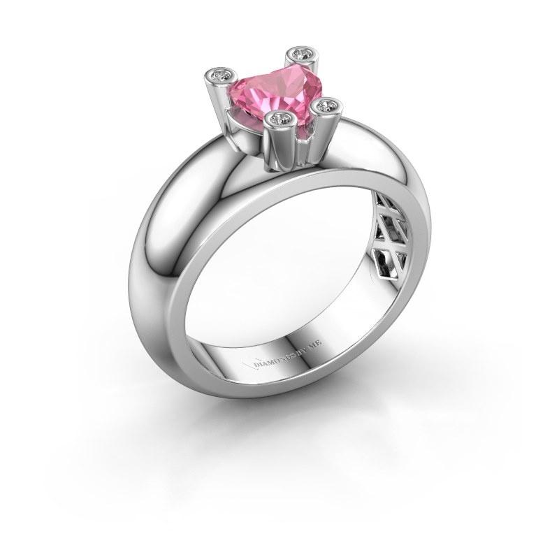 Ring Cornelia Heart 585 white gold pink sapphire 6 mm