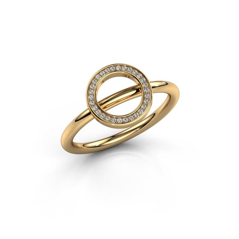 Ring Shape round large 585 goud zirkonia 0.8 mm
