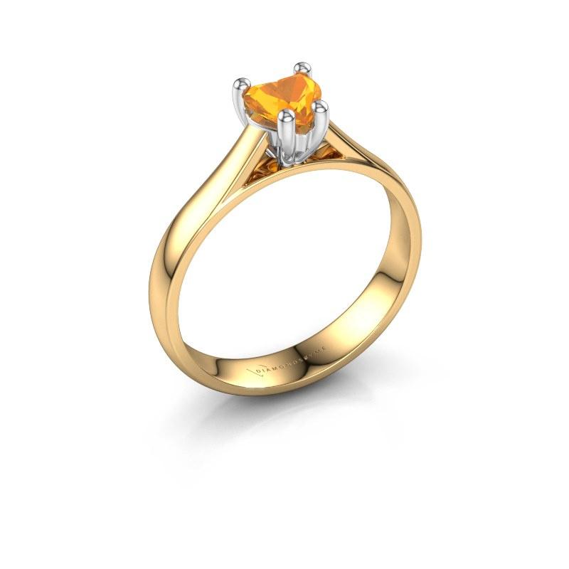 Engagement ring Sam Heart 585 gold citrin 5 mm