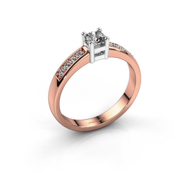 Engagement ring Eline 2 585 rose gold zirconia 3.7 mm