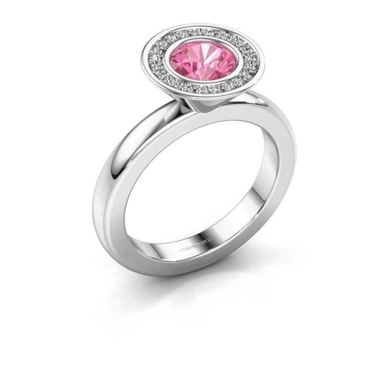 Stapelring Danille 950 platina roze saffier 6 mm