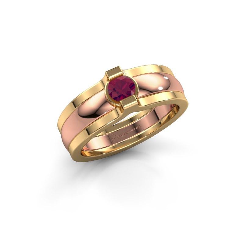 Ring Jade 585 rose gold rhodolite 4 mm