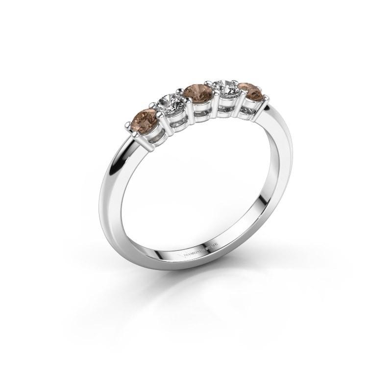 Promise ring Michelle 5 950 platina bruine diamant 0.40 crt