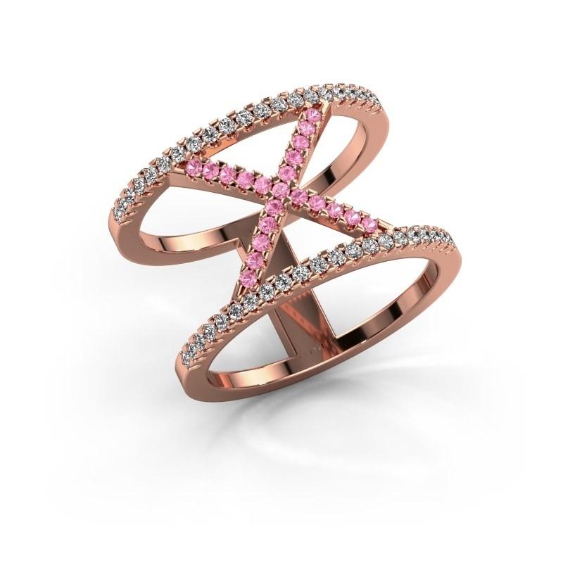 Ring Sharri 2 375 rose gold pink sapphire 1.1 mm