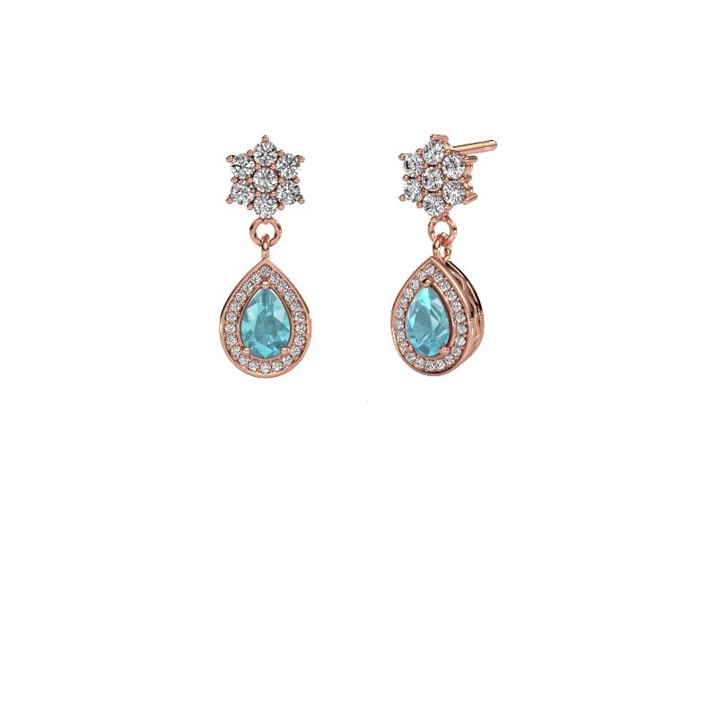 Drop earrings Era 585 rose gold blue topaz 6x4 mm