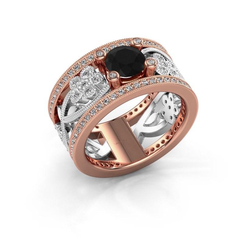 Ring Severine 585 rosé goud zwarte diamant 1.565 crt