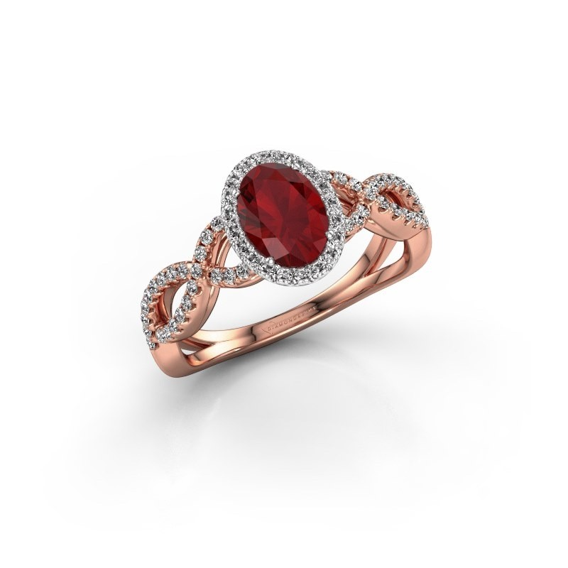Engagement ring Dionne ovl 585 rose gold ruby 7x5 mm