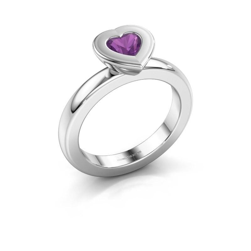 Stapelring Eloise Heart 925 zilver amethist 5 mm