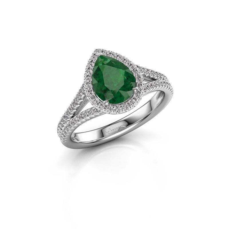 Verlovingsring Verla pear 2 950 platina smaragd 8x6 mm